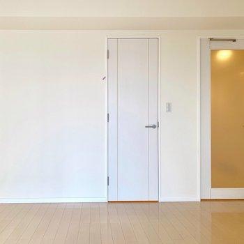 左の扉はウォークインクローゼットです。