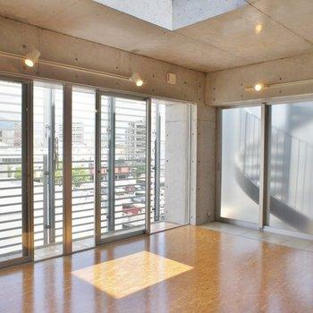 シーリングライトでお洒落度アップ※写真は同タイプの別室。天窓はありません。