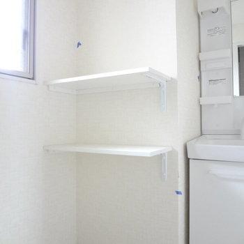 水回りの棚も活用できそう!(※写真は2階の同間取り別部屋、清掃前のものです)