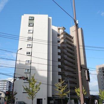 大通り沿いにあるどっしりなマンションです