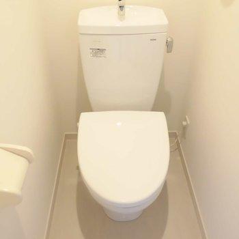 この広さでもしっかりトイレは個室です※写真は1階の同間取り別部屋のものです