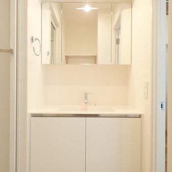 白で統一されたサニタリー、後方には洗濯機置場があります。