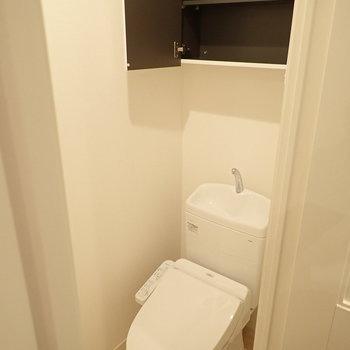 トイレの上部に収納、掃除用具などを入れられますね。