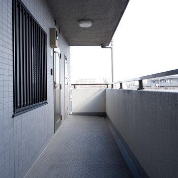 お部屋の前の共用部。二つ目の洋室の窓はこれです。