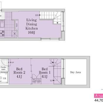 2LDK、メゾネットタイプのお部屋です。