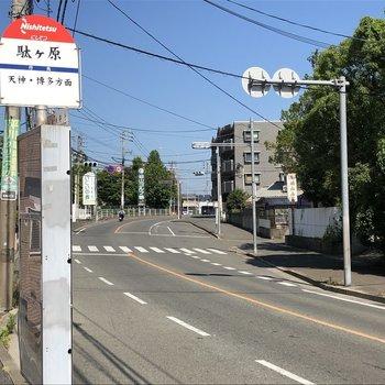 目の前のバス停から天神博多へも1本!