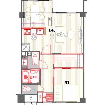 キッチンを中心とした空間に。