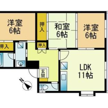 家族3〜4人で住みたい3LDKのお部屋です。
