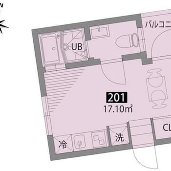 台形の1Kのお部屋です