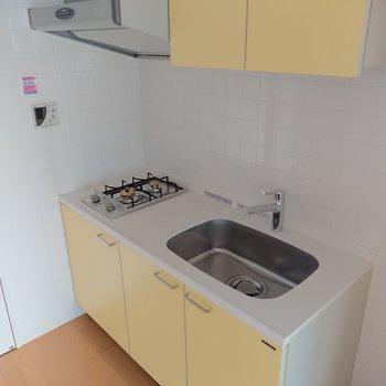 シンクが広くて洗い物がしやすい! グリルも備え付きです。※写真は通電前のものです