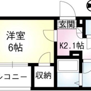 東向き1Kのお部屋です。