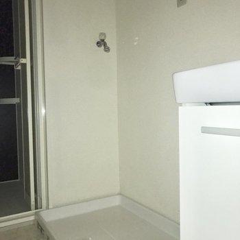 洗濯機は洗面台の隣に。※フラッシュを使用しています