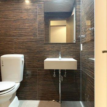 脱衣所にトイレ。かっこいい脱衣所だなあ〜(※写真のお部屋は清掃前のものです)