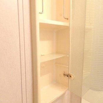 洗面台横に収納があります。(※写真は4階の同間取り別部屋のものです)