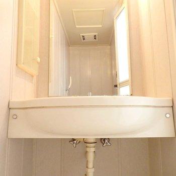 洗面台はしっかりとした大きさのもの。(※写真は4階の同間取り別部屋のものです)