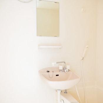 シンプルなバスルーム※写真は1階の同間取り別部屋のものです