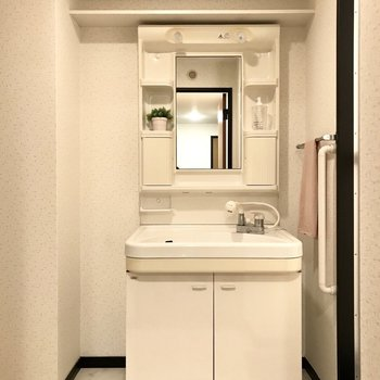 どっしりとした洗面台は家族小物も収納できそうっ (※写真は1階の同間取り別部屋、モデルルームのものです)