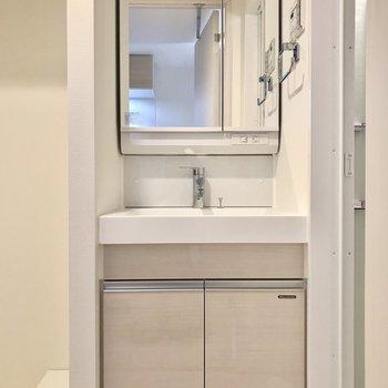 独立洗面台。タオル掛けも付いてますよ!