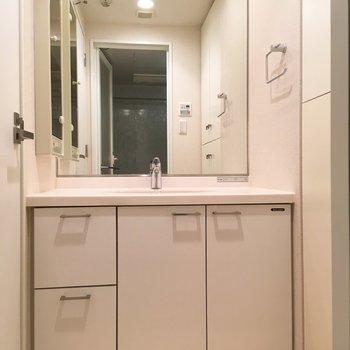 サニタリーへ。鏡の大きな洗面台。