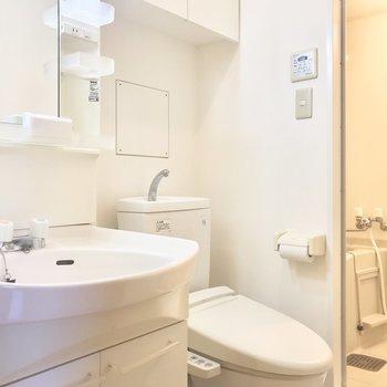 脱衣所とトイレは一緒になっています。※写真は2階の反転間取り別部屋のものです