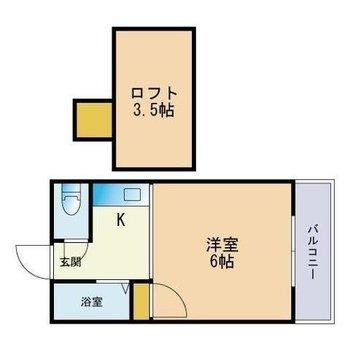 キッチンと洋室を隔てる扉はありません。