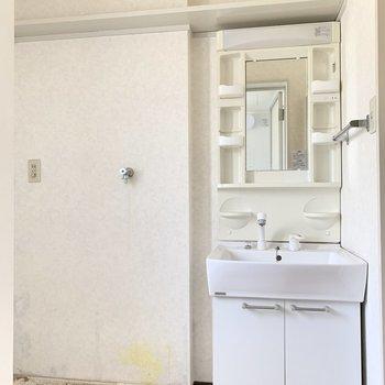 続けてサニタリー。洗面台の隣が洗濯機置場。(※写真は1階の同間取り別部屋、クリーニング前のものです)