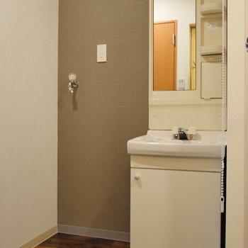 独立洗面台と、洗濯機置場です。