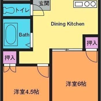 二人でもゆったり暮らせそうな2DKです※実際のお部屋は4.5帖洋室とDKの間に扉がありません