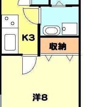 一人暮らしにぴったりサイズ。※お部屋は間取り図を反転したものです。
