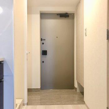 玄関スペースはゆったりと。※写真は6階の反転間取り別部屋のものです