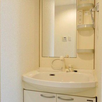 独立洗面台もきれい!洗濯機置場も同じ脱衣所内に。(※写真は9階の同間取り別部屋のものです)