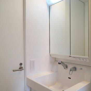 独立洗面台もありますよ。(※写真は3階の同間取り別部屋のものです)