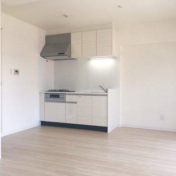 横には冷蔵庫や食器棚を置く空間もありますね