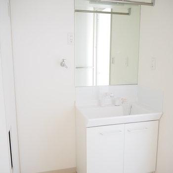 大きな鏡が自慢の独立洗面台の横には、洗濯機置場と、物干し竿もあります。