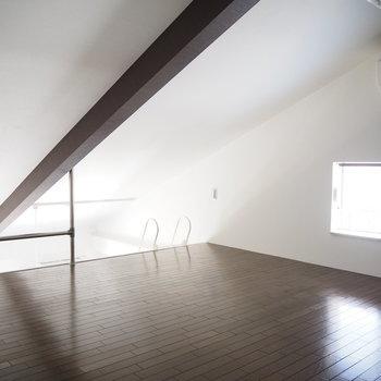 はしごを登ると8帖のロフト!寝室にしても良いですね。