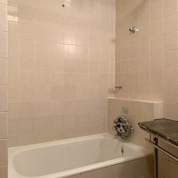左手にお風呂。ポールは物干しにしても、カーテンをつけても良し。