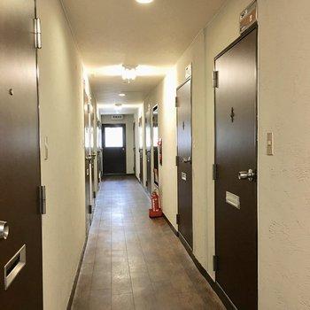 共用部】廊下は電気がついてるので明るいです。