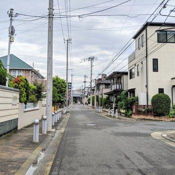 駅までの道は大通りかこのような閑静な住宅街です。