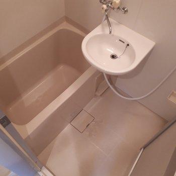 お風呂場は二点ユニットです。※写真は2階の同間取り別部屋のものです