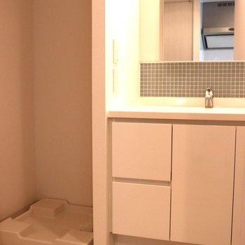 洗面台の左に洗濯機