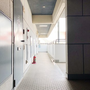 共用廊下も明るい雰囲気です