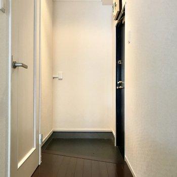 玄関までも真っ白。シューズボックスがないのであの角にラックを置こうかな。