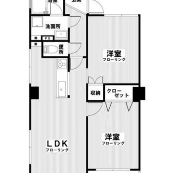 しっかりと洋室2部屋がわかれているのでふたり暮らしにおすすめ!