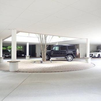 ロータリータイプの駐車場。