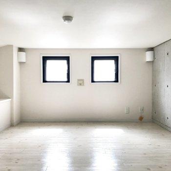なんとアンダーロフト!完璧には立てないけど、わくわくする空間です。明るいなぁ。 (※写真は清掃前のものです)