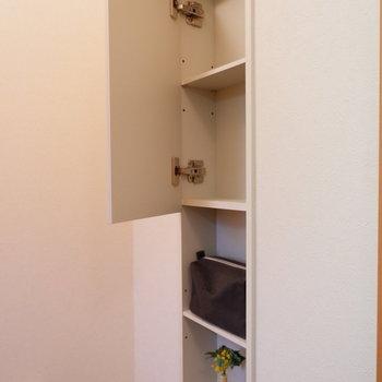 トイレ内には扉付きの棚もありました。