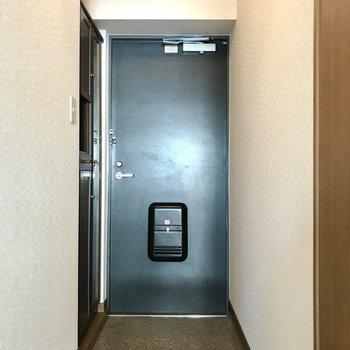 玄関も落ち着いた色合い。シューズボックスには全身鏡もついてますよ!