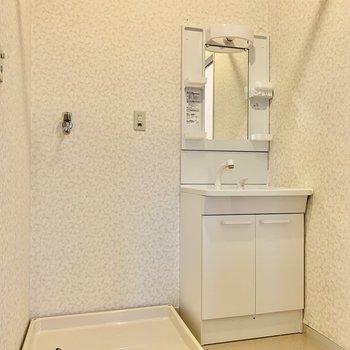 脱衣所に洗濯機置き場と洗面台。