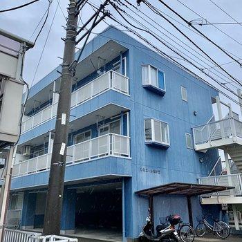 こちらの青色の建物です。