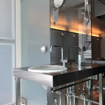 ステンレスの洗面台。鏡は小さめです。